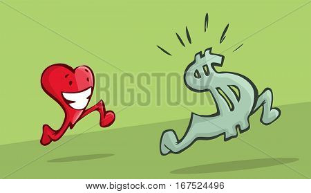 A beautiful illustration of a heart chasing a dollar sign. inflation concept.