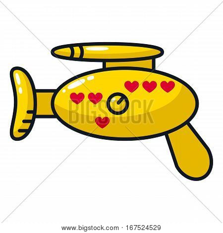 Yellow blaster. Magic gun. The illustration on the theme of love. Graphic design for theme parties on Valentine's Day and weddings.