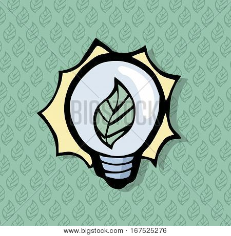 Beautiful lighbulb icon with a leaf in it. With a leaf pattern on the background.