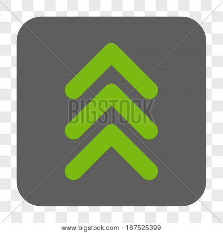 Triple Arrowhead Up interface toolbar button. Vector icon style is a flat symbol inside a rounded square button light green and gray colors chess transparent background.
