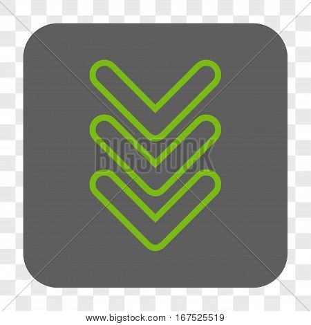 Triple Pointer Down interface toolbar button. Vector icon style is a flat symbol in a rounded square button light green and gray colors chess transparent background.