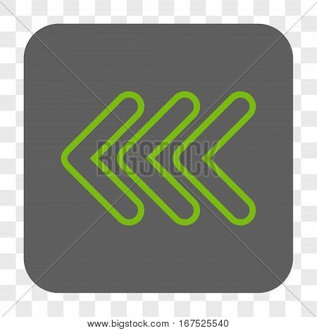 Triple Pointer Left interface toolbar button. Vector icon style is a flat symbol inside a rounded square button light green and gray colors chess transparent background.