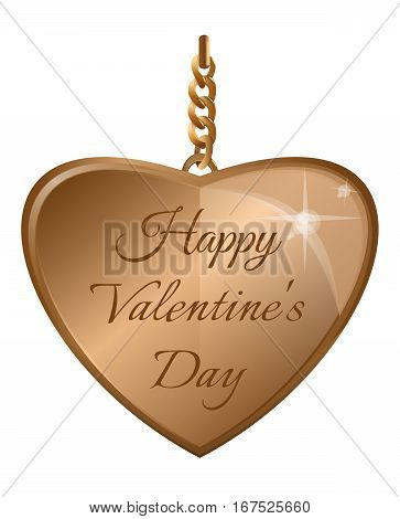 Happy Valentines Day design. Golden heart on a gold chain isolated on white background. Design element for Valentines Day. Vector illustration