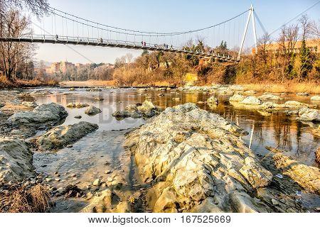 footbridge river rocks from below Casalecchio di Reno Bologna Italy