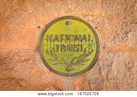 OODNADATTA AUSTRALIA - OCTOBER 24 2016: Australian National Trust sign at Oodnadatta Museum Oodnadatta outback South Australia Australia.