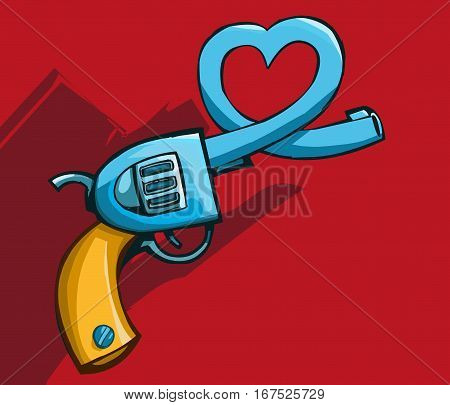 Vector illustration of a old revolver gun with heart shaped barrel