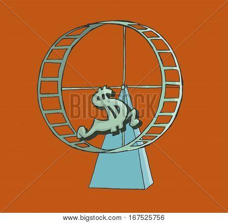 Dollar sign running on a hamster wheel. finance Concept.