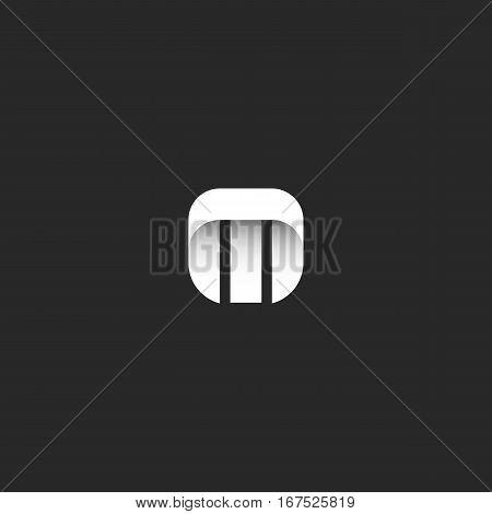 Letter M logo minimal style identity mockup, mark hipster monogram emblem template, smooth geometric simple shape, sleek stripe typography design element
