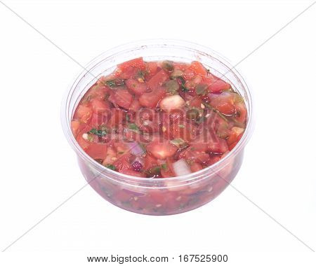 Pico de gallo, authentic mexican salsa in bpa free plastic container isolated on white background