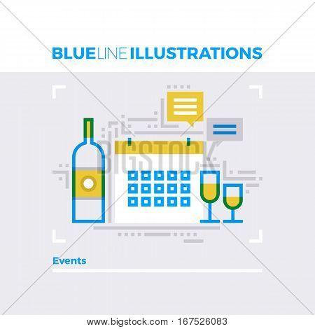 Events Blue Line Illustration.