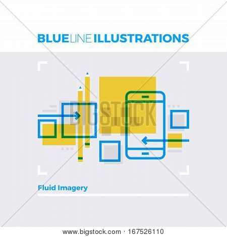 Fluid Imagery Blue Line Illustration.