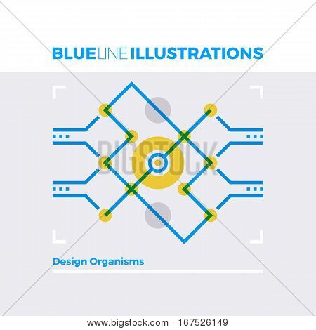 Organism Structure Design Blue Line Illustration.
