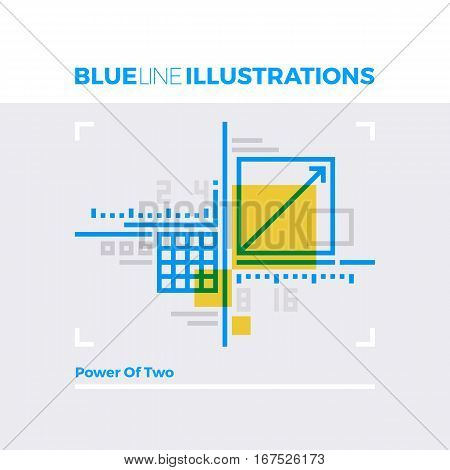 Power Of Two Blue Line Illustration.