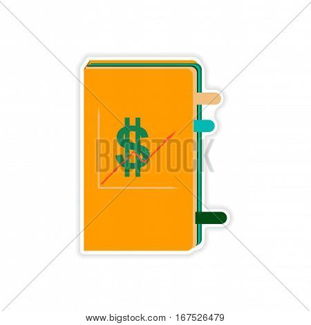 stylish sticker on paper economic Report on white background