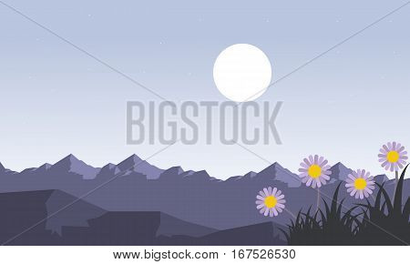 Mountain at spring landscape vector collection stock