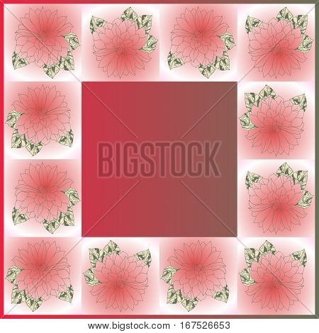 Lovely tablecloth with beautiful flowers. Bandana print or silk neck scarf. Floral kerchief. Hand drawn flowers.Vector illustration.