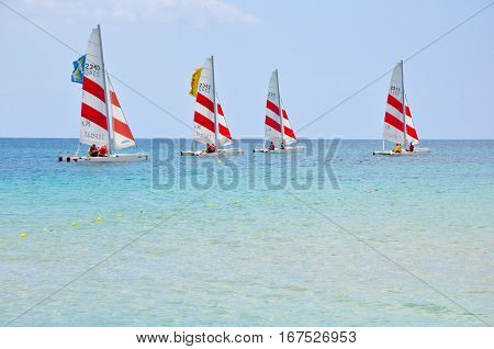 Saint-malo-july 22: Group Of People Learning Catamaran Sailing On The Coast Of Saint-malo France On