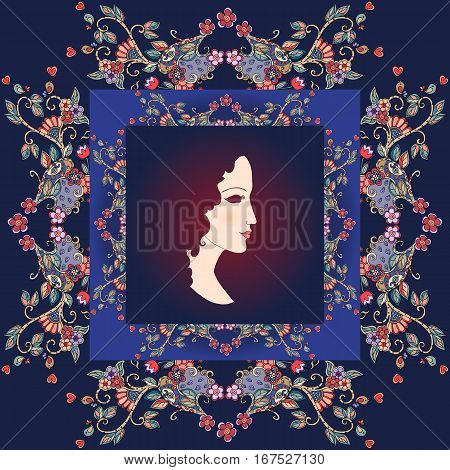 Beautiful bandana print with a female portrait and floral border