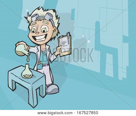 Vector illustration of a happy and mad young scientist with a lab coat working on mixing chemicals in a laboratory