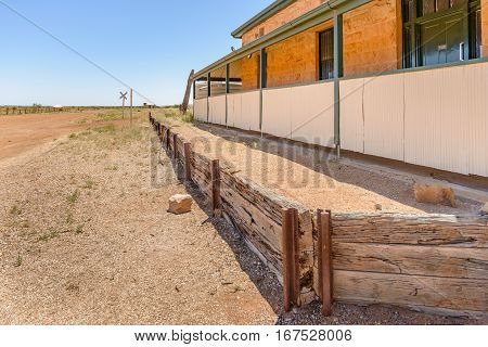 Remains of a railroad platform at Oodnadatta Museum South Australia Australia.