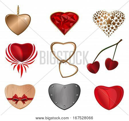 Heart icon set. Hearts of different materials for Valentine's Day. Heart love icon. Vector illustration