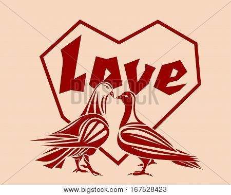 Loving couple pigeons against a backdrop of hearts. Symbol of love. Design element for Valentine's Day or other romantic events. A pair of lovers of pigeons. Vector illustration