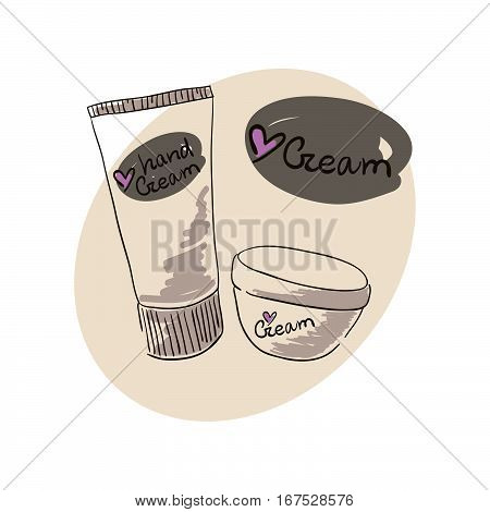 Doodle image of a hand cream for body skin care cream. Doodle drawing. Hand drawing cream