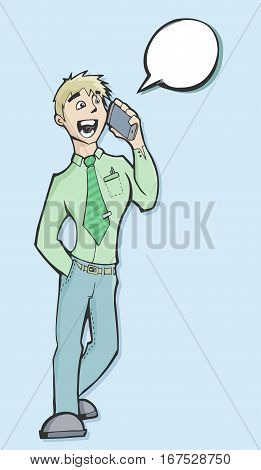 Vector illustration of a businessman talking on the phone with a speech baloon and copy space dressed in a green shirt and tie.
