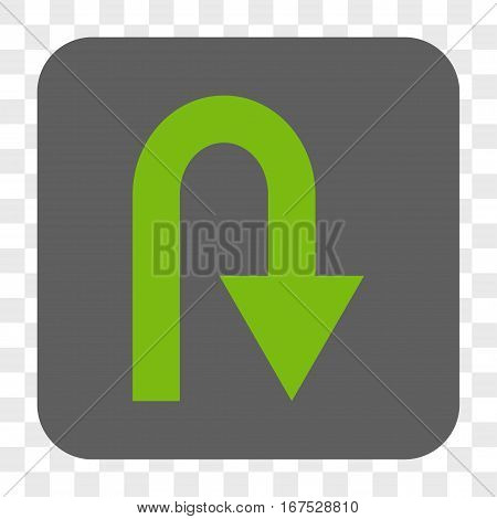 U Turn interface toolbar button. Vector icon style is a flat symbol on a rounded square button light green and gray colors chess transparent background.