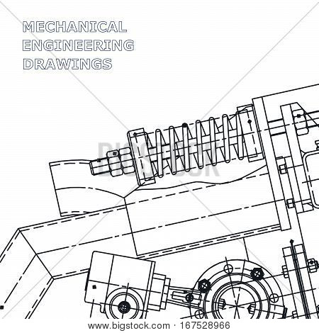 Mechanical engineering the drawing. Technical illustrations. The drawing for technical design. A cover a banner. A place for the text