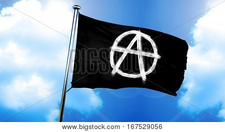 Anarchy sign flag, 3D rendering