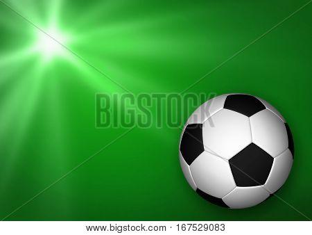 3D illustration - Soccer (football) ball on green background