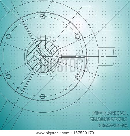 Mechanical engineering drawings. Engineering illustration. Blue. Points