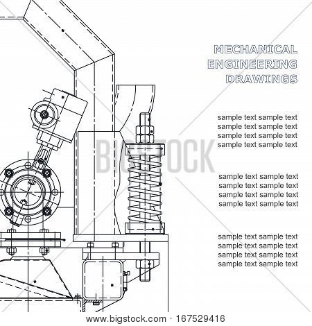 Mechanical engineering the drawing. Technical illustrations. The drawing for technical design. A cover a place for inscriptions