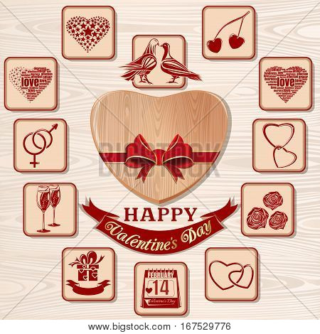 Valentines Day icon set. Symbols of Valentine's Day. Icons collection for Valentines Day on a wooden background. Vector illustration
