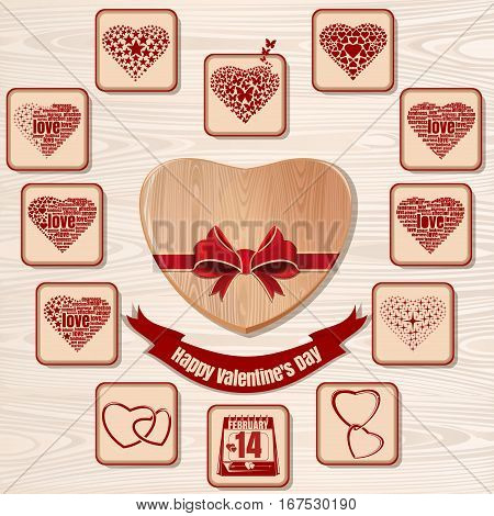 Set of hearts for Valentine's Day. Icons collection for Valentines Day on a wooden background. Symbols of Valentine's Day. Vector illustration