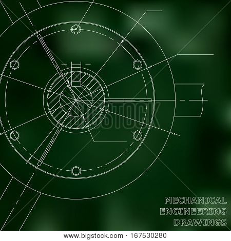 Mechanical engineering drawings. Mechanical engineering illustration. Green