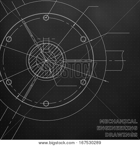 Mechanical engineering drawings. Engineering illustration. Black. Points