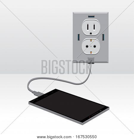 Black smartphone charging from usb outlet on light background. Mobile phone charge