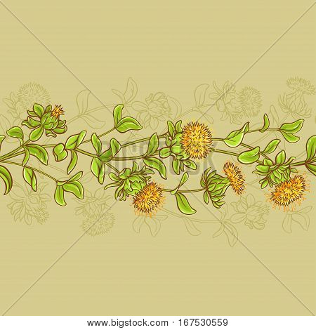 safflower horizontal seamless pattern on color background