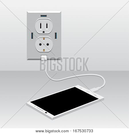 White smartphone charging from usb outlet on light background. Mobile phone charge
