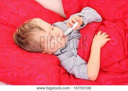 3-4 years old preschooler in bed - sick