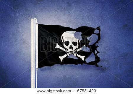 Jolly Roger Pirate flag blowing in the wind.