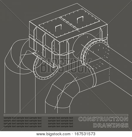 Drawings of steel structures. Pipes and pipe. 3d blueprint of steel structures