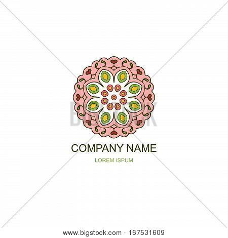 Business logo. Floral Oriental logo. Company logo in the oriental-style. Colorful round logo