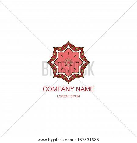 Business logo. Floral Oriental logo. Company logo in the oriental-style. Multangular round logo