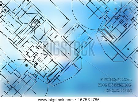 Mechanical Engineering drawing. Blueprints. Mechanics. Cover blue background for your design