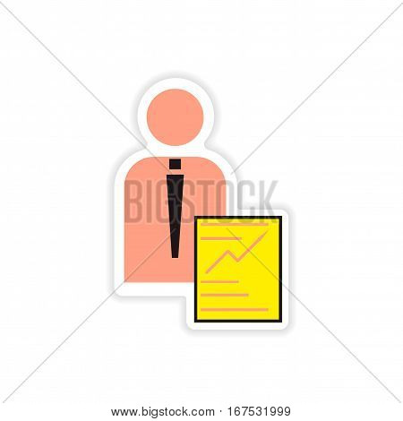 stylish sticker on paper businessman and economic report