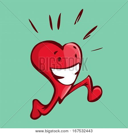 Vector illustration of a happy heart running doing some cardio with a green background.