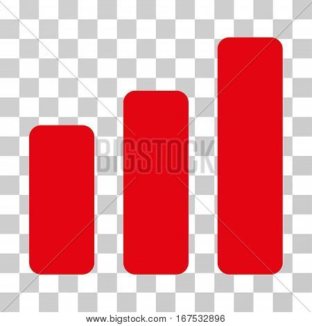 Bar Chart Increase vector icon. Illustration style is flat iconic red symbol on a transparent background.